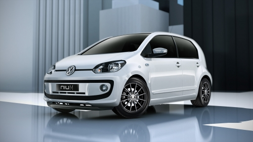Volkswagen Up with Niu M Matt Black Polished alloy wheels